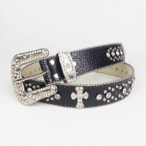 NWT RH12 Jewel Embellished Black Western Belt